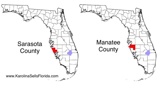 Mapa Sarasota i Manatee County